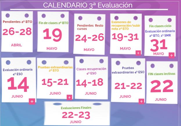 Calendario 3ª Evaluación